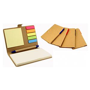 Qualy Brindes - Bloco de anotações com sticky notes e caneta ecológica