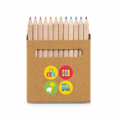 Brindes Qualy - Caixa de cartão com 12 mini lápis de cor. Cartão. Med.90 x 90 x 9 mm