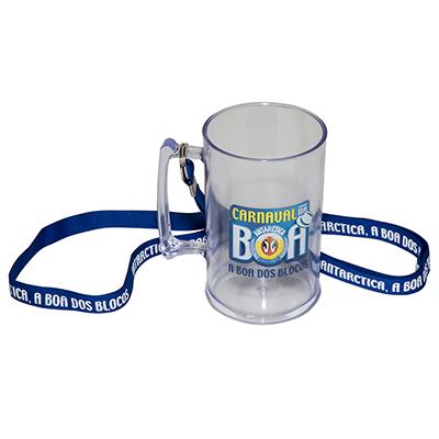 Fantastic Brindes - Caneca de chopp com cordão personalizada Material: Plástico PS cristal. Capacidade: 450 ml. Medidas: 7,8 cm de diâmetro (boca), 10,5 cm de largura (al...