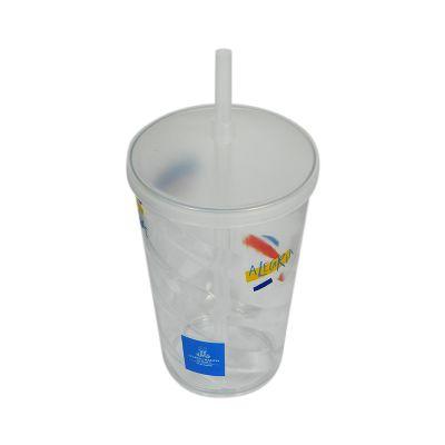Fantastic Brindes - Copo espiral com tampa e canudo personalizado Material: Plástico PS cristal. Capacidade: 700 ml. Medidas: 10,5 cm de diâmetro (boca), 7 cm de diâmetro...
