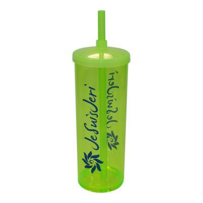 Fantastic Brindes - Copo long drink com tampa e canudo Material: Plástico PS cristal. Capacidade: 330 ml. Medidas: 6,3 cm de diâmetro (boca), 5,8 cm de diâmetro (base) e...