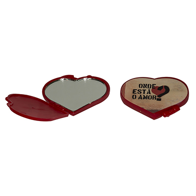 Fantastic Brindes - Espelho plástico em formato de coração personalizado.