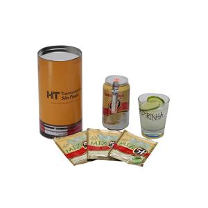 Donare Presentes - Kit caipirinha personalizado - Tubo em papelão revestido, personalizado, contendo 01 copo com motivos da bandeira do Brasil, caracterizado para caipir...