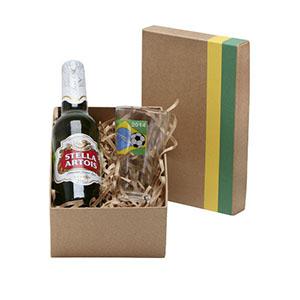 Donare Presentes - Caixa em papelão rígido, cor Kraft com detalhes em verde e amarelo, contendo 01 garrafa de cerveja de 350 ml, 01 copo para cerveja de 180 ml