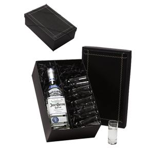 Donare Presentes - Caixa personalizada em papelão rígido, contendo 01 garrafa de tequila José Cuervo Especial Silver, 06 copos para tequila.