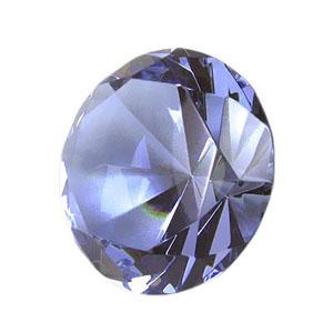 By Luciana Godoy - Personalizados Especiais - Peso de papel diamante de cristal - azul. Promova a sua marca através de brindes exclusivos!