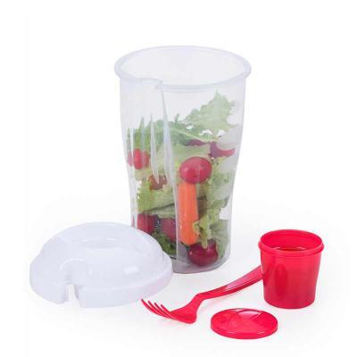 Store Gift - Copo plástico 800 ml para salada com recipiente para molho e garfo, plástico utilizado PS (Policarbonato).