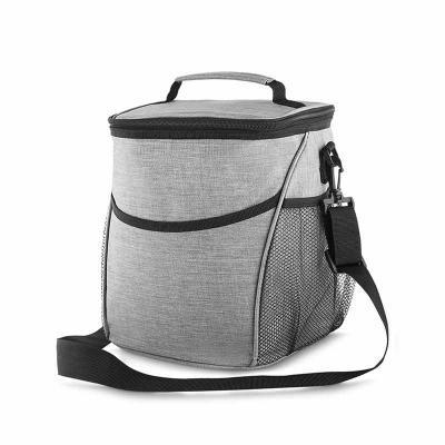 Store Gift - Bolsa térmica, capacidade 12 litros, tecido nylon poliéster (cinza), bolso frontal, dois bolsos laterais, alça de ombro ajustável, alça de mão, parte...