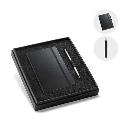 Line Brindes - Kit de caderno e esferográfica. Cartão e alumínio. Caderno capa dura com 96 folhas não pautadas cor marfim. Em caixa almofadada. Incluso caderno e esf...
