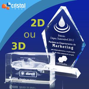 Cristal Image - Bloco / Placa Personalizado em Cristal 100% transparente, com gravação a laser 2D ou 3D no interior da peça.