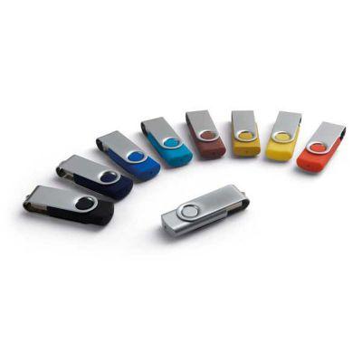 Promoaxis - Pen drive giratório em metal com detalhes emborrachados em varias opções de cores.