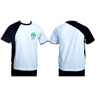 Stantex Soluções Têxteis - Camiseta em malha com detalhes e impressão em silk.