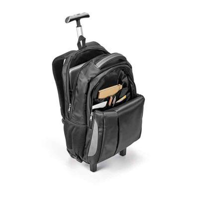 Pratic Brindes - Mochila trolley para notebook. Nylon 999. Material à prova de água. Com 2 rodas. Compartimento principal almofadado para notebook até 17''. Segundo co...