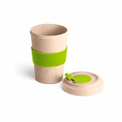 Pratic Brindes - Copo para viagem. Fibra de bambu e PP. Com banda de silicone e tampa. Capacidade até 500 ml. Personalizado em Serigrafia.