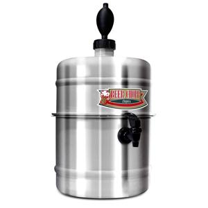 Pratic Brindes - Chopeira doméstica portátil. Moldada em alumínio polido alto brilho. Prática e design tipo barril de chopp. Capacidade 4,2 litros de líquidos. Reserva...