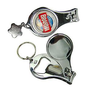 Pratic Brindes - Chaveiro de metal, 3 em 1 sendo. Funções: Abridor, Cortador de Unha e Mini Lixa