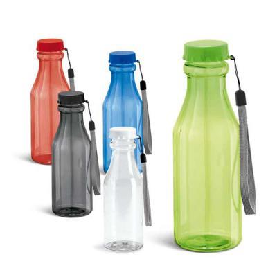 Pratic Brindes - Squeeze Retro de plástico transparente e colorido em formato de garrafa, possui tampa rosqueável colorida e alça, capacidade para 510 ML, com gravação...
