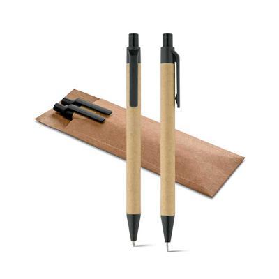 Pratic Brindes - Conjunto de caneta esferográfica e lapiseira de papel kraft com estojo, caneta de papel com clip e ponteira de plástico e aciona com clique, lapiseira...