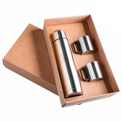 Pratic Brindes - Kit Garrafa térmica em inox de 1 litro e 2 canecas de inox com Tampa de 180 ml, ambos personalizados a Laser.  Fornecidos em caixa de papelão cartonad...