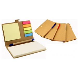GTX Brindes - Bloco de anotações ecológico com caneta, sticky notes coloridos.