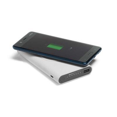 Click Promocional - Bateria portátil wireless.  ABS.  Acabamento emborrachado.  Bateria de lítio.  Capacidade: 11.000 mAh.  Tempo de vida ≥ 500 ciclos.  Com entrada...