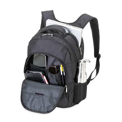 Click Promocional - •Mochila em Nylon 1680D na cor preta com detalhes emborrachados; •01 Bolso grande com Compartimento acolchoado para notebook de até 15,6'; •01 Bols...