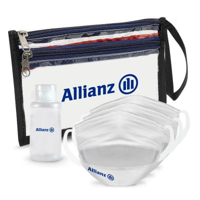 Maggenta  Produtos Promocionais - Kit Prevenção com Álcool em Gel 60ml 3 Máscaras com dupla e Necessaire 1