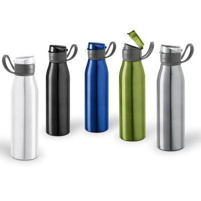 Maggenta  Produtos Promocionais - Produzida em alumínio com tampa e bico protetor para conservar e proteger sua bebida. Possui alça lateral em PS flexível e capacidade de 650 ml.