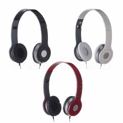 Club Brindes - Fone de ouvido estéreo articulável, protetor em couro sintético com espuma e material plástico inteiro colorido com detalhes prata. Disponível em vári...