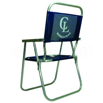 Club Brindes - Cadeira de praia alta feita em alumínio.