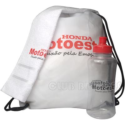 Club Brindes - Kit fitness - (Mochila saco + squeeze 550ml + toalha fitness).