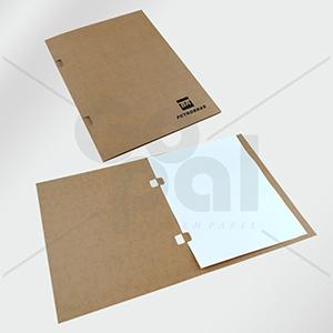 Gopal Arte em Papel - Pasta em cartão Kraft com aba para fixação por grampos. Impressão em silkscreen: 1/0