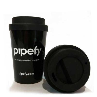 Layout Brindes - Copo para café em pp com tampa 400 ml. Impressão em silk. faça sua combinação de cores   copo + tampa