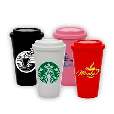 Layout Brindes - Copo para café em pp com tampa 550 ml. Impressão em silk.