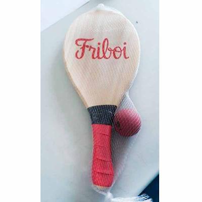 Layout Brindes - Kit frescobol em pinus contendo duas raquetes e uma bolinha.