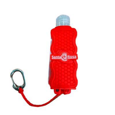 Layout Brindes - Chaveiro emborrachado  porta álcool gel com personalização em relevo ou silk, acompanha álcool gel  60ml.