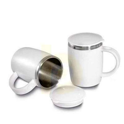 Nexo Brindes - Caneca Térmica Inox e PP  Caneca plástico com inox na parte interna de 400ml. plástico utilizado PP (Polipropileno).      Dimensão Produto: 12,5xø9,0c...