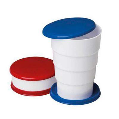 """MDM Brindes - Copo retrátil 130ml de plástico com tampa. Basta puxar para cima para """"armar"""" o copo, pode ser inteiramente desmontado.  Tamanho total aproximado  (Cx..."""