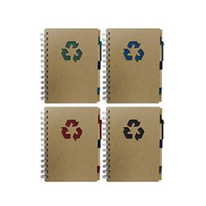MDM Brindes - Bloco de anotações e caneta, material reciclado, contém 80 fl