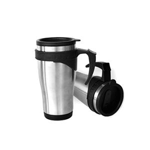MDM Brindes - Caneca de inox com tampa, capacidade 450 ml