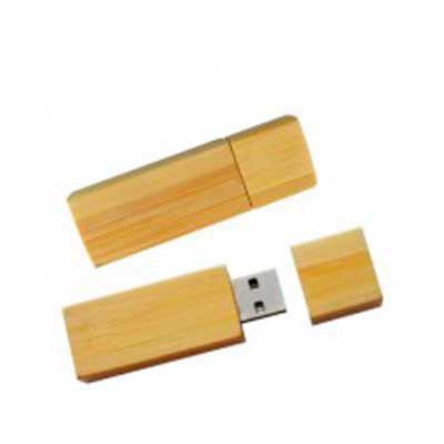MDM Brindes - Pen drive de 4 Gb, corpo de bambu. Gravação Laser ou Tampografia