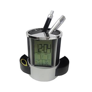 MDM Brindes - Relógio com porta-clips e canetas em plástico resistente detalhe em metal na cor preto