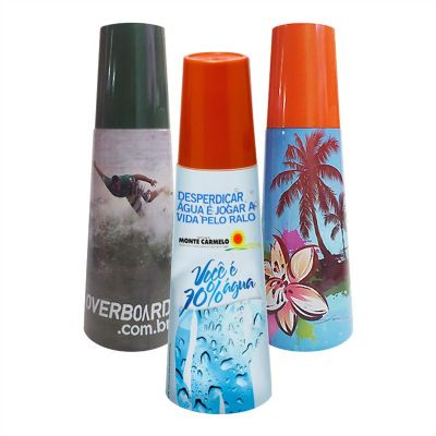 Sertha Brindes - Moringa plástica 1 Litro com copo 250 ml - Personalização em Sleeve