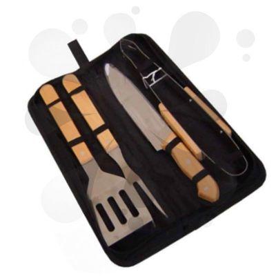 Blunn - Kit churrasco personalizado com 4 peças em estojo de nylon com alça. Possui: pegador, garfo, faca e espátula de madeira e parte interna com elástico p...