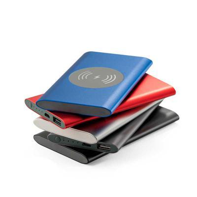 Blunn - Linda bateria portátil com carregador wireless personalizado em alumínio. Bateria polímero de lítio. LED: indicador de carga. Capacidade: 4.000 mAh. T...
