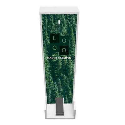 Blunn - Lindo totem dispenser para álcool em gel produzido na cor branca.   Fabricado em MDF de 15mm, o totem possui uma pedaleira emborrachada, quatro sapata...