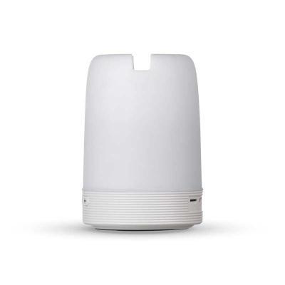 Brindez Brindes Promocionais - Caixa de som multimídia com luzes, suporte para celular e porta caneta. Material plástico resistente na cor branca fosca, parte superior com falante v...