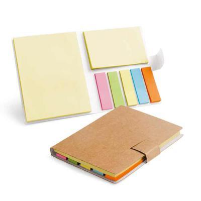 Brindez Brindes Promocionais - Bloco de Anotações com Sticky notes - Caderno. Cartão. 7 blocos adesivados: 25 folhas cada. 80 x 105 x 9 mm