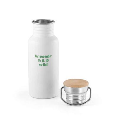 Brindez - Brindes Promocionais - Squeeze. Aço inox. Tampa em bambu. Capacidade: 540 ml. Food grade. Fornecido em caixa. Ø68 x 192 mm