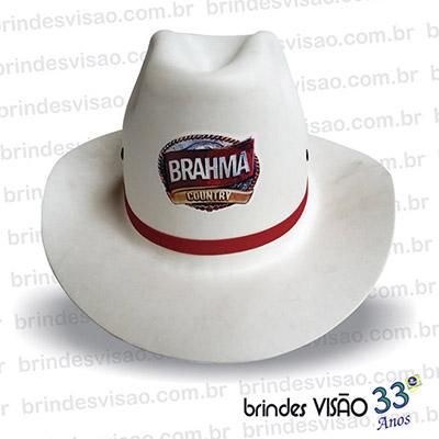 Brindes Visão - Chapéu modelo Cowboy promocional em E.V.A. diversas cores.